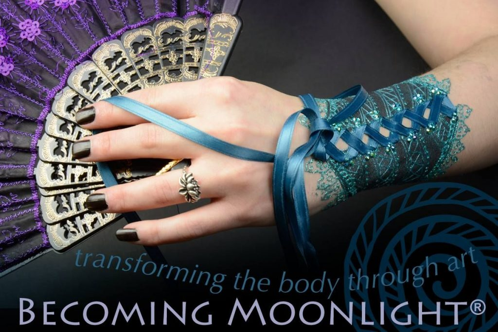 Becoming moonlight white henna laced arm cuff body art