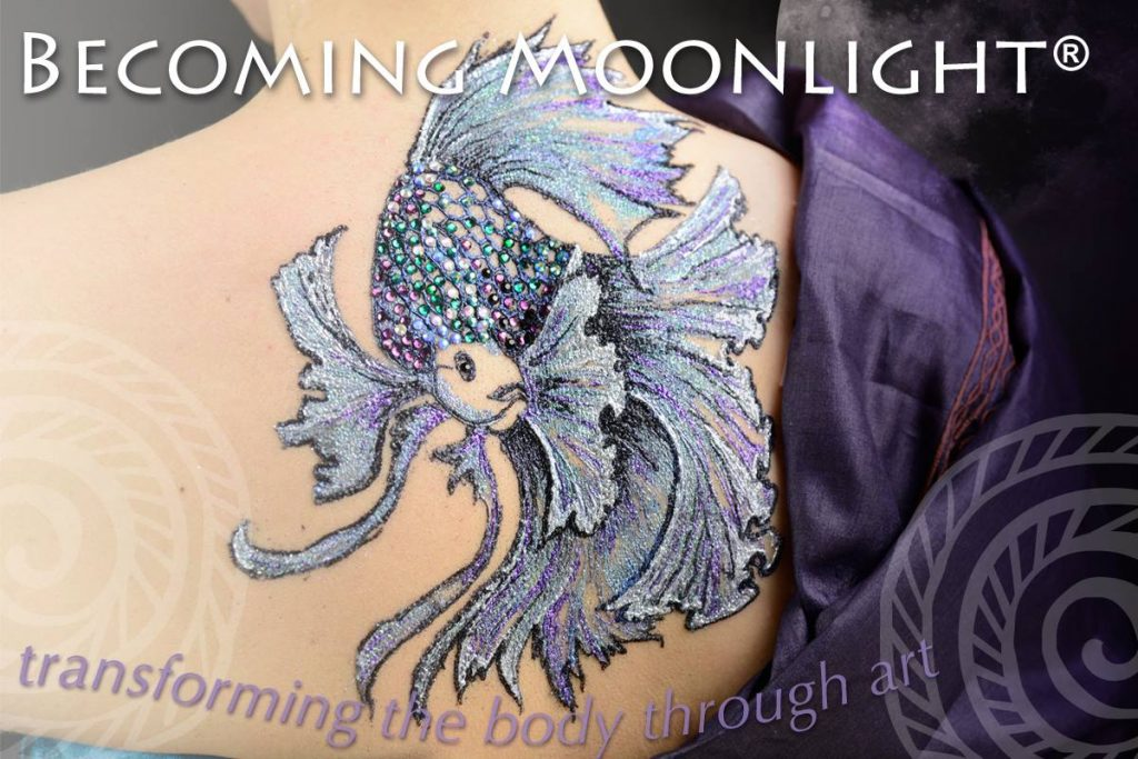 Becoming Moonlight glitter and gem fish body art